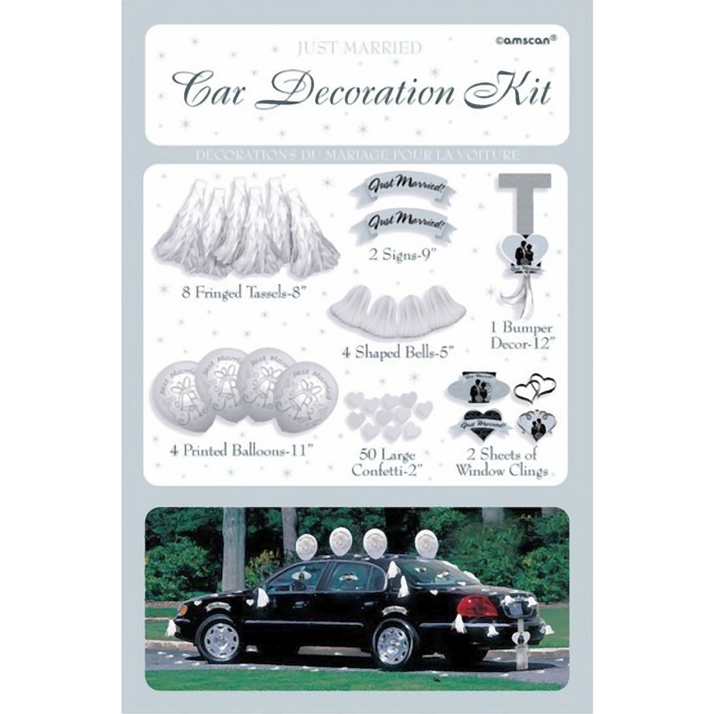 Wedding car decorating kit amscan 246855 pack of 71 pieces for Decoration kit