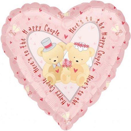 Balon Folie Inima Roz Cuplu Fericit, Anagram, 45 cm, 16032