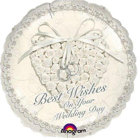 Balon Folie Best Wishes On Your Wedding Day, Anagram, 45 cm, 113600