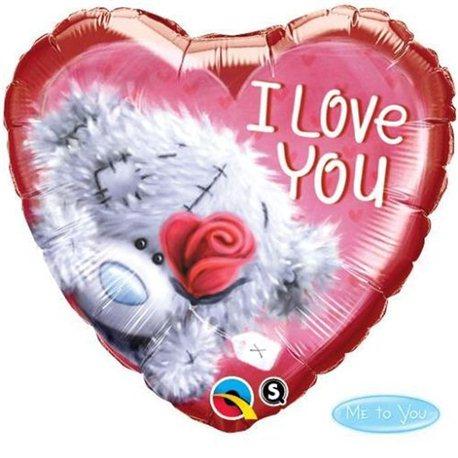 Balon Folie Inima Teddy Bear I love You, Qualatex, 45 cm, 20811