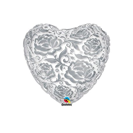 Balon Folie Inima cu Trandafiri Argintii, Qualatex, 55 cm, 81662