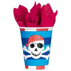 Pahare carton cu Pirati pentru petrecere copii, 266ml, Amscan 589877, Set 8 buc