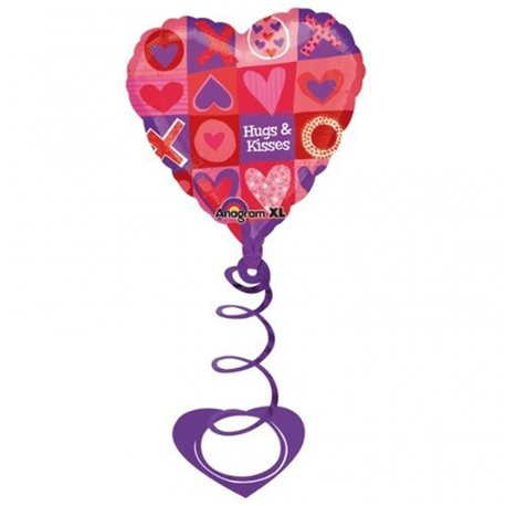"Valentines Day Hugs & Kisses Coil Foil Balloon, Anagram, 26"", 14909"