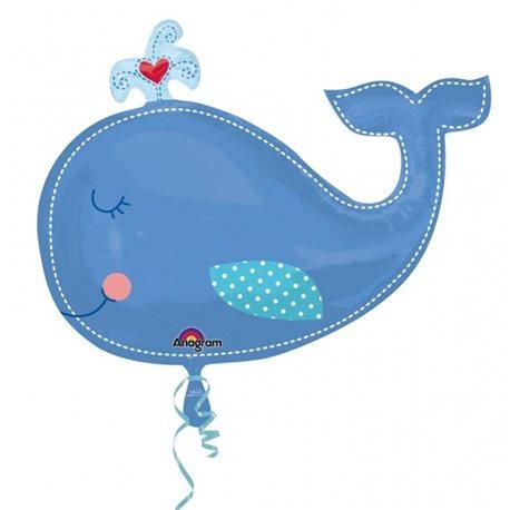 Ahoy Baby Boy Whale Supershape Foil Balloon, 86x61 cm, 24576