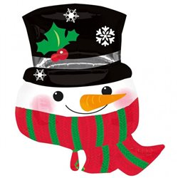 Christmas Snowman with Scarf Shaped Supershape Foil Balloon, 71 cm, 22782