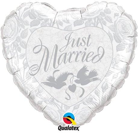 Balon Folie Just Married Pearl White & Silver, Qualatex, 45 cm, 14253