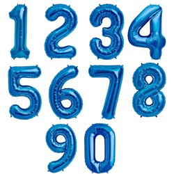 "34""/86 cm Blue Number Shaped Foil Balloons, Northstar Balloons, 1 piece"