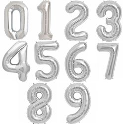 "34""/86 cm Silver Number Shaped Foil Balloons, Northstar Balloons, 1 piece"