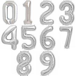 "Baloane Folie Mari cu Cifre 0-9 Silver, 86 cm / 34"", Northstar Balloons, 1 buc"