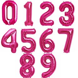 "34""/86 cm Magenta Number Shaped Foil Balloons, Northstar Balloons, 1 piece"