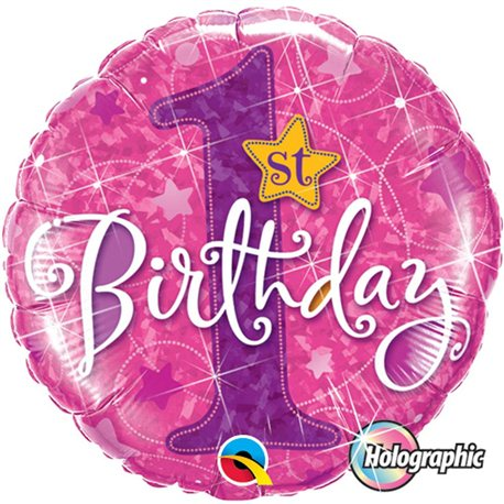 Balon Folie 1st Birthday Stars Pink Holographic, Qualatex, 45 cm, 41597