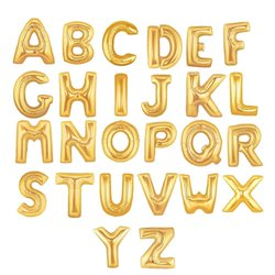 "16""/41 cm Gold Letter Shaped Foil Balloons, Northstar Balloons, 1 piece"