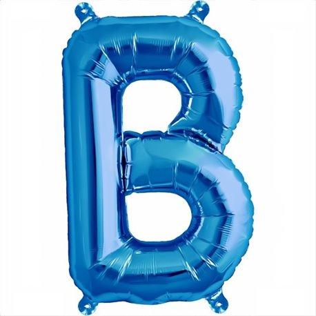 "Balon Folie Litera A-Z Albastru, 41 cm / 16"", Qualatex, 1 buc"