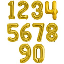 "16""/41 cm Gold Number Shaped Foil Balloons, Northstar Balloons, 1 piece"