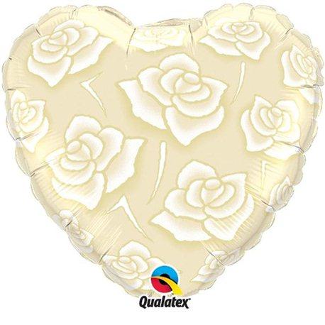 Balon Folie Inima Trandafiri, Qualatex, 45 cm, 90413