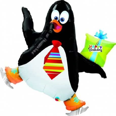 """Happy Birthday"" Skating Penguin Gift 41"" Balloon Mylar, 104 cm, 31019"