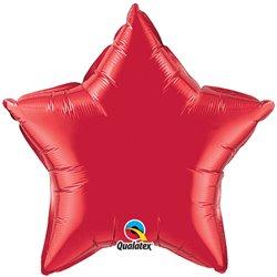 Balon folie Ruby Red metalizat cu forma de stea - 50 cm, Qualatex 12626, 1 buc