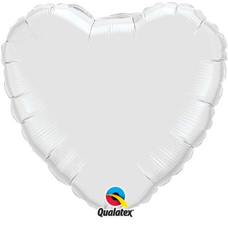 Balon folie alb metalizat in forma de inima - 45 cm, Qualatex 23762, 1 buc