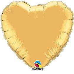 "Metallic Gold Heart Foil Balloon - 4""/10 cm, Qualatex 36336, 1 piece"