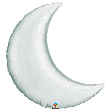 Balon folie argintiu metalizat cu forma de semiluna - 89 cm, Qualatex 36531, 1 buc