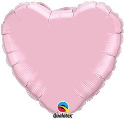 Balon folie Pearl Pink metalizat in forma de inima - 45 cm, Qualatex 99349, 1 buc