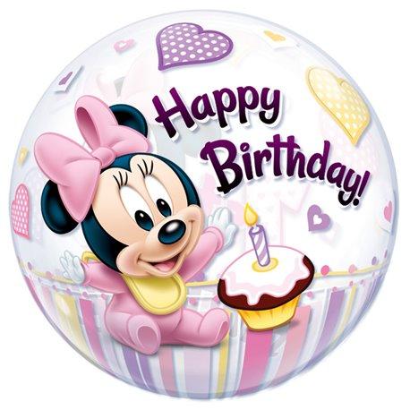 "Balon Bubble Minnie Mouse 1st Birthday - 22""/56cm, Qualatex 12862, 1 buc"