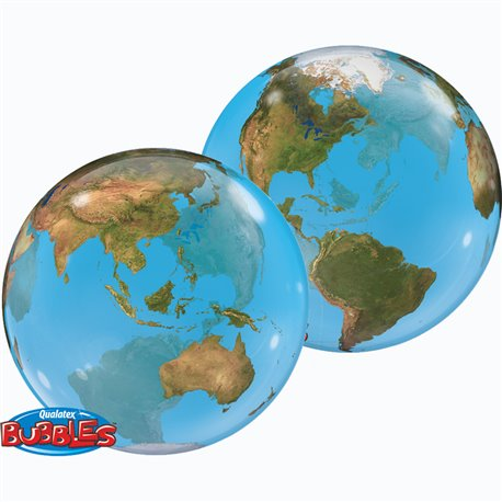 "Balon Bubble Planeta Terra - 22""/56cm, Qualatex 16871, 1 buc"