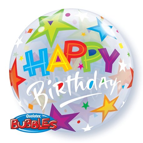 "Balon Bubble Birthday Brilliant Stars - 22""/56cm, Qualatex 23595, 1 buc"