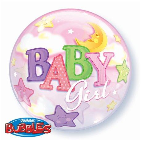 "Baby Girl Moon & Stars Bubble Balloon - 22""/56cm, Qualatex 23598, 1 piece"