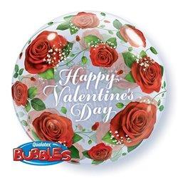 """Balon Bubble Happy Valentine's Day - 22""""/56cm, Qualatex 27513, 1 buc"""