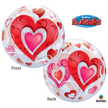 "Balon Bubble cu Inimioare Rosii - 22""/56cm, Qualatex 33909, 1 buc"