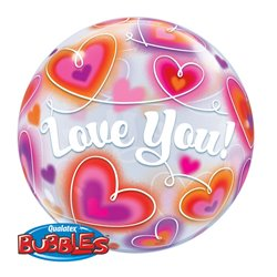 "Balon Bubble Love You cu Inimioare - 22""/56cm, Qualatex 34072, 1 buc"