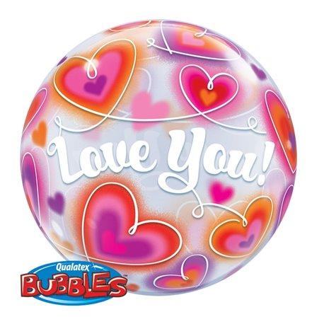 "Balon Bubble Love You cu Inimioare - 22""/56cm, Qualatex 34072, 1 buc"