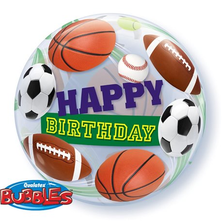 "Birthday Sport Balls Bubble Balloon - 22""/56cm, Qualatex 34821, 1 piece"