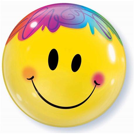 """Balon Bubble Bright Smile Face - 22""""/56cm, Qualatex 35173, 1 buc"""