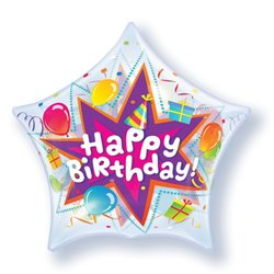 "Balon Bubble Birthday Party Blast - 22""/56cm, Qualatex 36765, 1 buc"