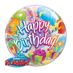 "Balon Bubble Birthday Surprise - 22""/56cm, Qualatex 65407, 1 buc"