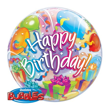 "Balon Bubble Birthday Surprise - 22""/56cm, Qualatex 65407, 1 buc"