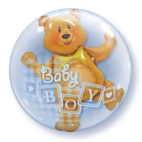 "Balon Double Bubble Baby Boy Blocks & Bear - 24""/61cm, Qualatex 68646, 1 buc"