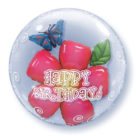 "Balon Double Bubble Birthday Flower - 24""/61cm, Qualatex 68805, 1 buc"