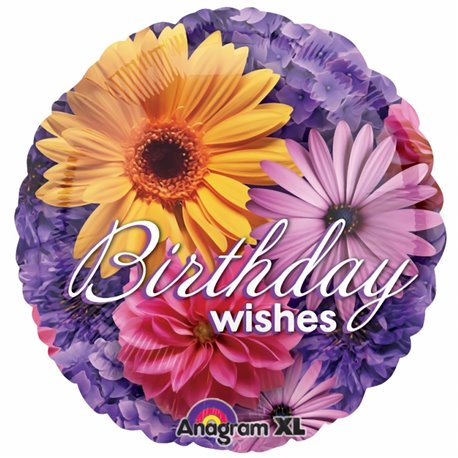 Balon Folie 45 cm Floral Birthday Wishes, Anagram 1993401