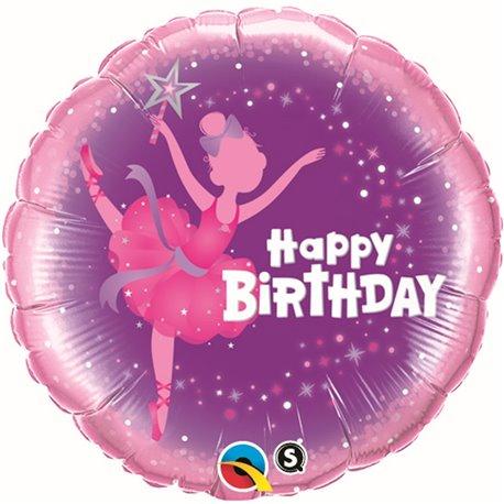 "Balon Folie 45 cm ""Happy Birthday"" Balerina, Qualatex 41681"