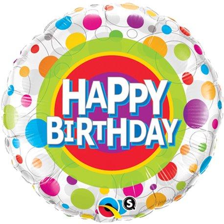 "Balon Folie 45 cm ""Happy Birthday"" cu Buline, Qualatex 41136"