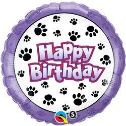 "Balon Folie 45 cm ""Happy Birthday"" Paw Prints, Qualatex 35443"