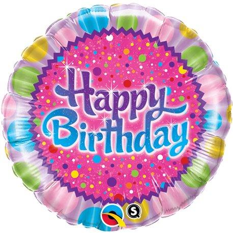 """Balon Folie 45 cm """"Happy Birthday"""" Sprinkles & Sparkles, Qualatex 30677"""
