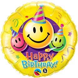 "Balon Folie 45 cm ""Happy Birthday"" Smiley Faces, Qualatex 29644"