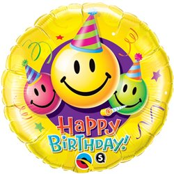 "Birthday Smiley Faces Foil Balloon - 18""/45cm, Qualatex 29644"