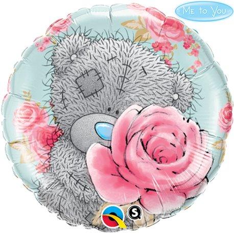 Balon Folie 45 cm Teddy Bear Birthday Roses, Qualatex 20760