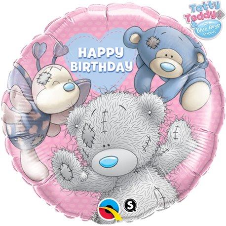 """Balon Folie 45 cm """"Happy Birthday"""" Teddy si Prietenii, Qualatex 20723"""