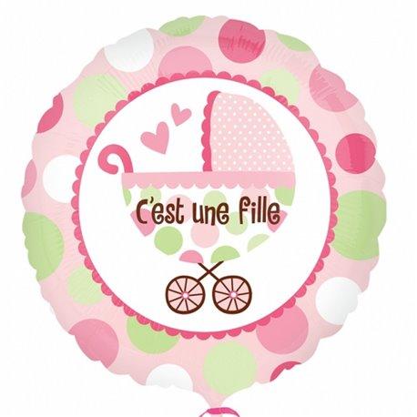 """Balon Folie 45 cm Carucior """"C'ést une fille"""" Roz, Amscan 21990"""